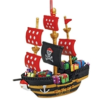 ahoy, matey! | Cape Cod Black Pirate Ship Ornament | Christmas Ornament.