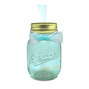 I'm going to put sand from my favorite beach in this awesome Cape Cod Beach Glass Jar Ornament.