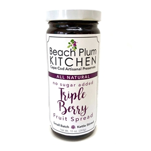 Cape Cod's Beach Plum Kitchen Triple Berry Jam is made with real strawberries, raspberries and blueberries bursting with antioxidants in small batches and kettle stirred in the traditional artisanal method.