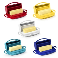 The best Butter Dish ever designed!  The Butterie Butter Dish features a one handed design and you don't have to refrigerate it!