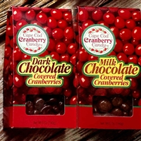 Chocolate Covered Cranberries are a delicious way to enjoy sweetened dried cranberries surrounded by gourmet chocolate and made with pride on Cape Cod | LaBelle's General Store #CapeCodCranberries