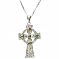 Platinumware Emerald Celtic Cross Pendant by Shanore | Irish Made Platinum Plated Celtic Jewelry | LaBelle's General Store