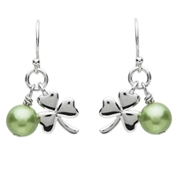 PlatinumWare Shamrock Green Pearl Earrings - by Shanore | Irish Made Platinum Plated Celtic Jewelry | LaBelle's General Store