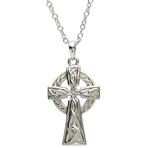 Platinumware Small Celtic Cross Pendant by Shanore | Irish Made Platinum Plated Celtic Jewelry | LaBelle's General Store