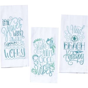 I love the coastal quotes on these awesome Beach Sayings Kitchen Towels | Where doing nothing is doing something! | LaBelle's General Store
