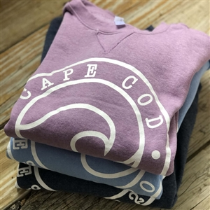 Exclusive Wave Design! Cape Cod Wave Crew Neck Sweatshirt with v-notch detail.