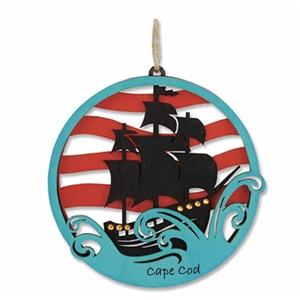 ahoy, matey! | Cape Cod Pirate Ship Ornament | Laser cut wooden Christmas Ornament.