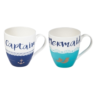 Grab this best-selling set for the perfect wedding gift! | Captain and Mermaid Mug Set | LaBelle's General Store