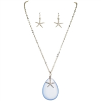 So pretty! Blue Seaglass Starfish Necklace & Earring Set | LaBelle's