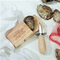 Oyster Shucking Knife Set - Wooden Block and Shucker