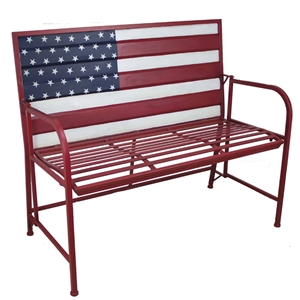 Stars and Stripes! American Flag Metal Bench | Cottage Style | LaBelle Cape Cod