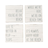 Just too cute!  White-washed, Planked Beach Coaster Set for the beach house!