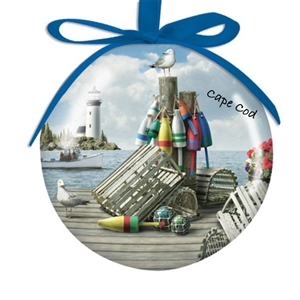 I love this Lighthouse themed shatterproof Cape Cod Ball Ornament! | LaBelle's General Store