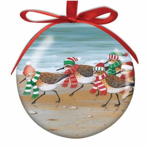 I love these adorable sandpipers on this Cape Cod Ball Ornament! | LaBelle's General Store