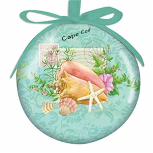 I love this shell-themed shatterproof Cape Cod Ball Ornament! | LaBelle's General Store