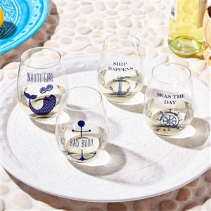love these Shipwrecked Set of Nautical Stemless Wine Glasses | fun and quirky! | LaBelle's General Store