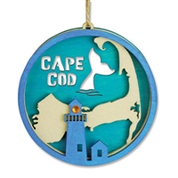 love the lighthouse, whale tale and Cape Cod map! | Cape Cod Ornament | Laser cut wooden Christmas Ornament.