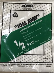 "Plastic Embossed Drop Cloth 22040 ""Toss Away"" 1/2Mil 9' x 12'"