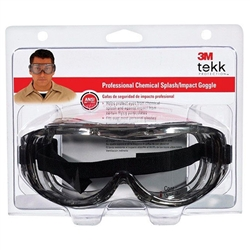 3M 91264 Clear Lens Tekk Protection Professional Chemical Splash/Impact Goggles