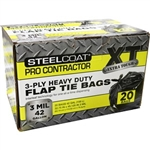 Steelcoat 42 Gal 3mil Black PRO Contractor Flap Tie Bags 20Ct FG-P9934-76A