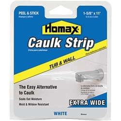 "Homax 1-5/8"" x 11' White Tub & Wall Fixture Caulk Strip 34040"