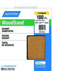 "Norton 9"" X 11"" WoodSand Garnet Sandpaper Pack of 25"