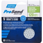 "Norton 5"" X 5"" 8-Vac Hole 3X Hook & Sand Disc 3 Pack"