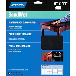 "Norton 9"" X 11"" SandWet Waterproof Sandpaper 5 Pack"