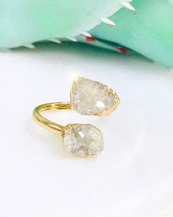 Raw Druzy Double Ring