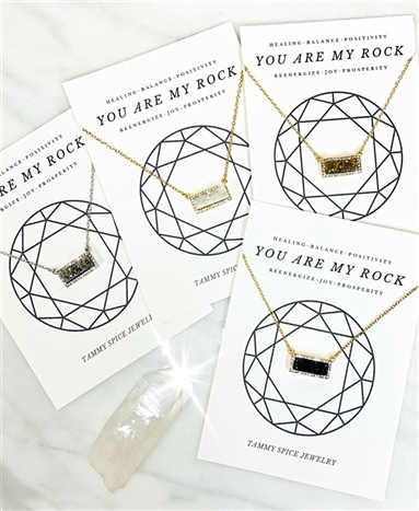 You Are My Rock Druzy Bar Necklace