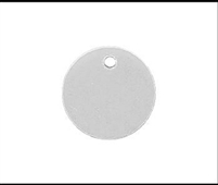 "18 gauge aluminum disc, 1"" diameter with 3/16"" hole"