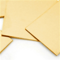 "Brass sheet, 20 gauge, 6"" x 6"". This brass sheet is half hard temper."