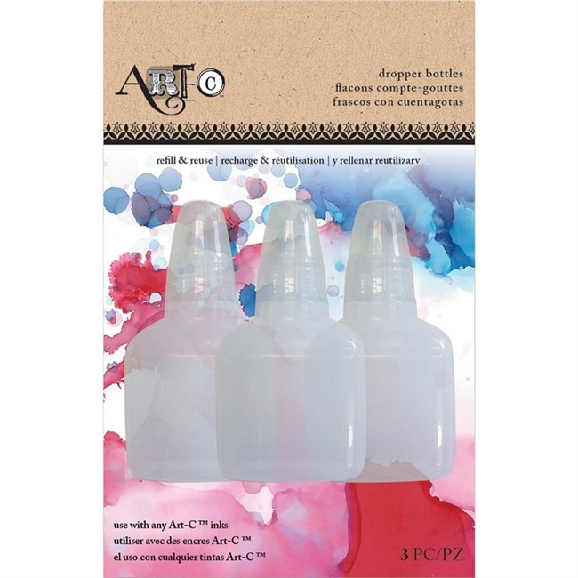 Art-C dropper bottles, set of three empty dropper bottles for alcohol inks