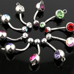 2 Gem Add Charm Belly Ring 100 Pack