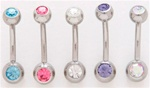 2 Gem Petite Belly Ring 100 Pack