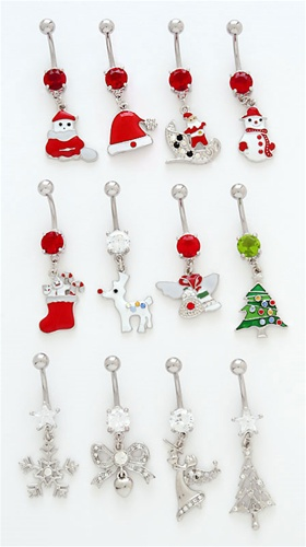 Holiday Christmas Belly Ring Stocking Belly Ring You Choose Barbell Color Belly Button Jewelry Christmas Stocking Belly Ring
