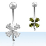 Clover Gem Belly Ring