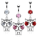 316L Surgical Steel CZ Eyed Owl Navel Ring