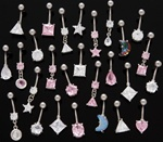 CZ Shape Dangle Belly Ring