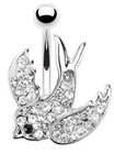 Swallow with Paved Gems 316L Surgical Steel Navel Ring
