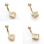 Gold CZ Shaped Bezel Set Belly Ring