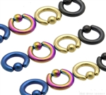 Heavy Gauge Titanium Anodized Captive Bead Ring