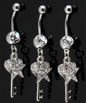 Key and Star Dangle Belly Ring