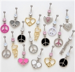 Peace Sign Dangle Belly Ring