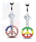 Peace Pendant Dangle Belly Ring