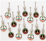 Rasta Peace Sign Dangle Belly Ring