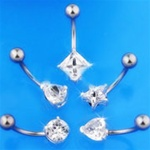 Wholesale Shaped CZ Solitaire Belly Rings