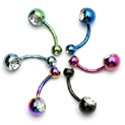 Titanium Gem Belly Ring