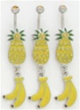 Tropical Pineapple Banana Dangle Belly Ring
