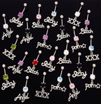 Word Dangle Belly Ring